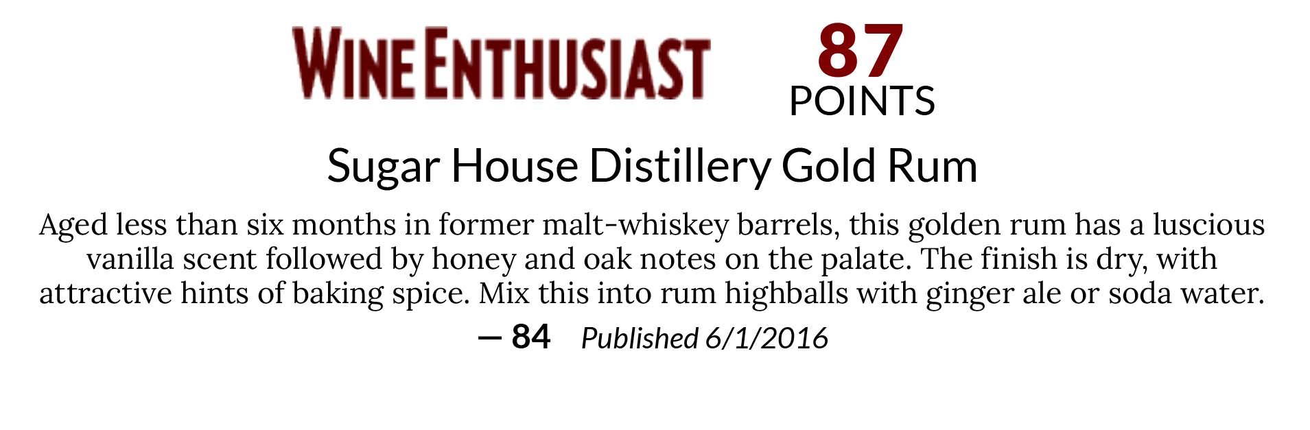 Sugar House Distillery Gold Rum
